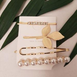 Gold Bobby Pin Pearl Hair Clip Leaf Set